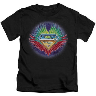 Superman/Don't Stop Believing Short Sleeve Juvenile Graphic T-Shirt in Black