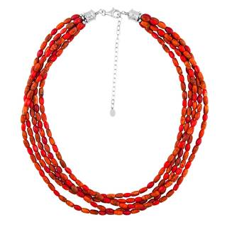 Sterling Silver Coral Beads Multi-strand Necklace