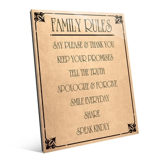 Family Rules' Acrylic and Paper Wall Art
