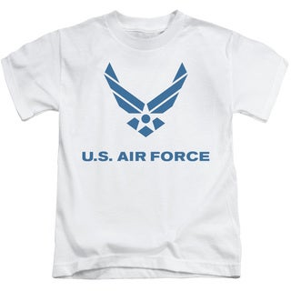 Air Force/Distressed Logo Short Sleeve Juvenile Graphic T-Shirt in White
