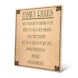 Family Rules' Paper Metal Contemporary Wall Art