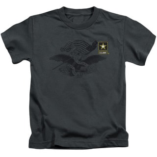 Army/Left Chest Short Sleeve Juvenile Graphic T-Shirt in Charcoal
