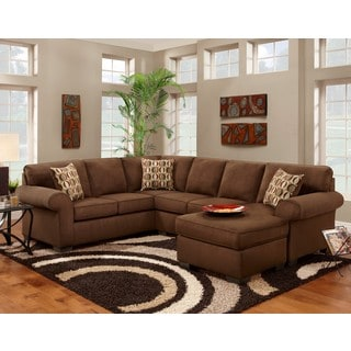 Sofa Trendz Cree Chocolate Brown Polyester-blend Sectional/Chaise Sleeper Sofa