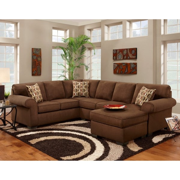 Sofa trendz cree chocolate brown polyester blend sectional for Chocolate brown sectional sofa with chaise