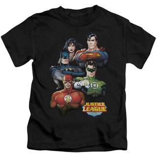 JLA/Group Portrait Short Sleeve Juvenile Graphic T-Shirt in Black