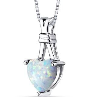 Oravo White/Multicolored Opal Sterling Silver Heart Pendant Necklace