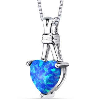 Oravo 1.50-carat Blue Opal Sterling Silver Heart Pendant Necklace