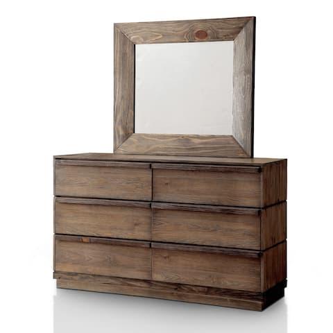 Furniture of America Cirio 2-piece Natural Tone Dresser and Mirror Set