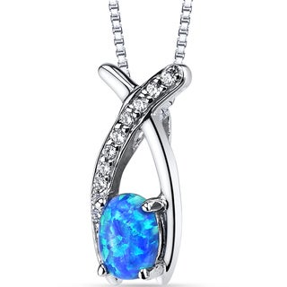 Oravo 0.05-ct Sterling Silver Created Blue Opal Ichthus Pendant Necklace