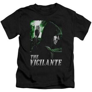 Arrow/Star City Defender Short Sleeve Juvenile Graphic T-Shirt in Black