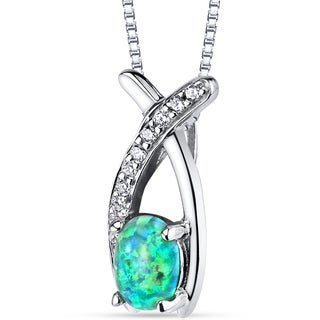 Oravo Sterling Silver Created Green Opal Ichthus Pendant Necklace