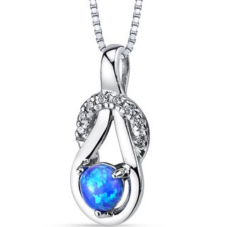 Oravo Sterling Silver 0.05-carat Created Blue Opal and Cubic Zirconia Infinity Knot Pendant Necklace