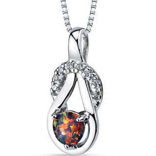 Oravo 0.05-ct Created Black Opal Sterling Silver Infinity Knot Pendant Necklace