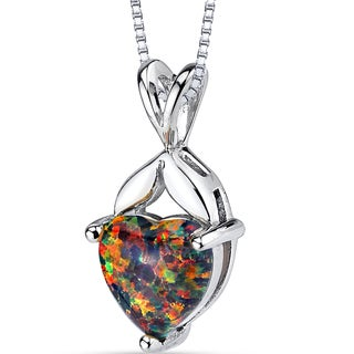 Oravo Sterling Silver 1.50-carat Created Black Opal Heart Pendant Necklace