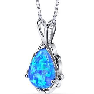 Oravo Sterling Silver 1.00ct Created Blue Opal Stala Pendant Necklace