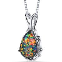 Oravo Sterling Silver 1.00ct Created Black Opal Stala Pendant Necklace