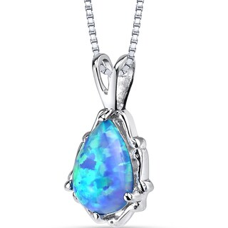 Oravo Sterling Steel Created Powder Blue Opal Stala Pendant Necklace
