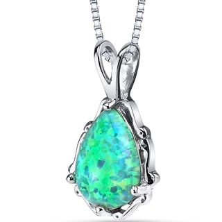 Oravo Women's Sterling Silver 1-carat Created Green Opal Stala Pendant Necklace
