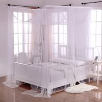 Palace Crystal Accent White Polyester 4-Post Bed Canopy