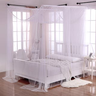 Palace Crystal Accent White Polyester 4 Post Bed Canopy
