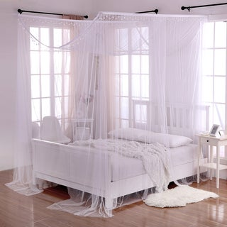 Palace Crystal Accent White Polyester 4-Post Bed Canopy & Bed Canopies For Less | Overstock.com