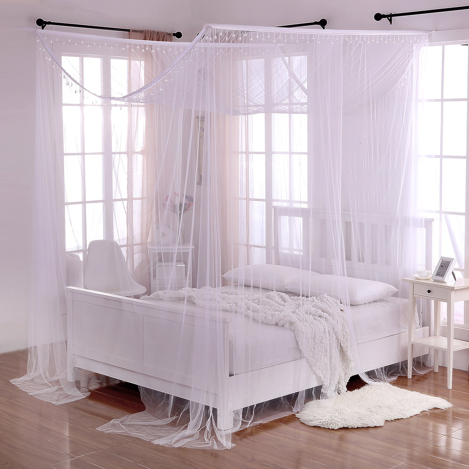 - Shop Palace Crystal Accent White Polyester 4-Post Bed Canopy