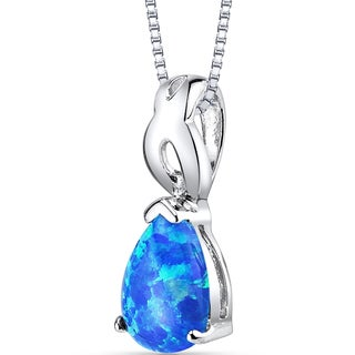 Oravo Sterling Silver 1.00 ct Created Blue Opal Poire Pendant Necklace