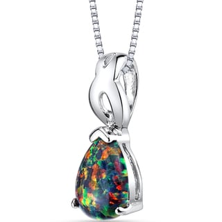 Oravo Sterling Silver 1.00-carat Created Blakc Opal Poire Pendant Necklace