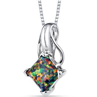 Oravo Sterling Silver 1.50-carat Princess-cut Created Black Opal Pendant Necklace