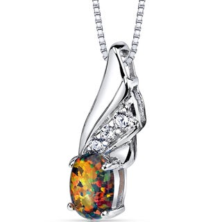 Oravo Sterling Silver 0.75 ct Created Black Opal Angel Pendant Necklace
