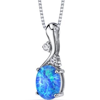 Oravo Women's Sterling Silve 1.75-carat Created Blue Opal Posy Pendant Necklace