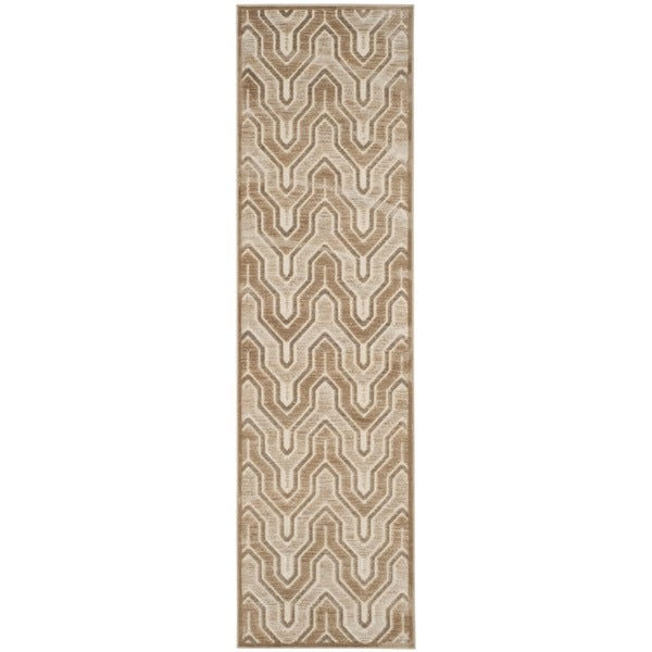 Safavieh Paradise Watercolor Vintage Caramel / Cream Viscose Runner Rug (2'2 x 8')