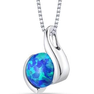 Oravo Sterling Silver 1.50-carat Created Blue Opal Iris Pendant Necklace