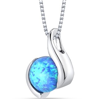 Oravo Sterling Silver 1.50 ct Created Powder Blue Opal Iris Pendant Necklace