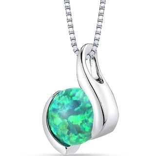 Oravo Sterling Silver and 1.50-carat Created Green Opal Iris Pendant Necklace