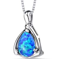 Oravo Blue Opal Sterling Silver Equerre Pendant Necklace