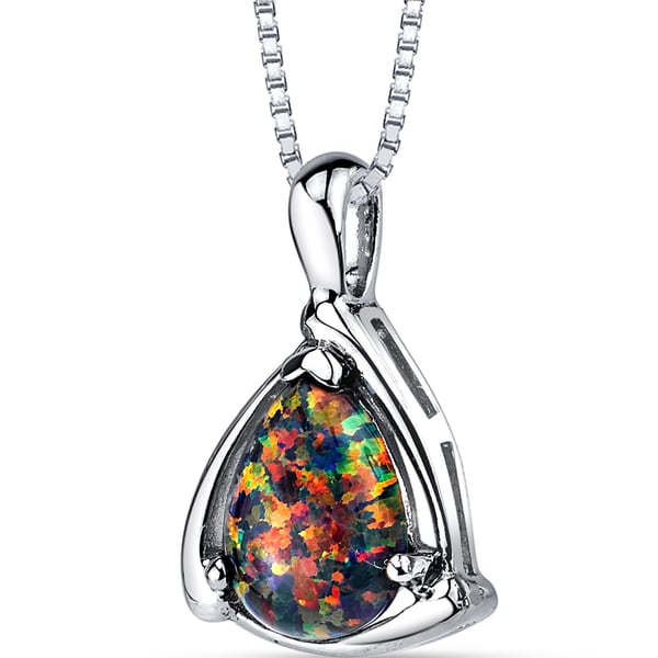 Oravo Multicolored Opal Sterling Silver Pendant Necklace
