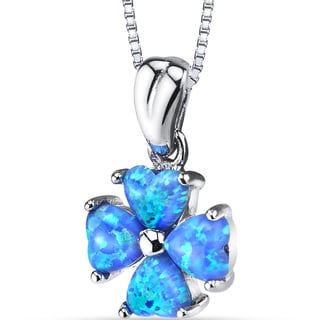 Oravo Sterling Silver 1.5-carat Created Blue Opal Lucky Hearts Pendant Necklace