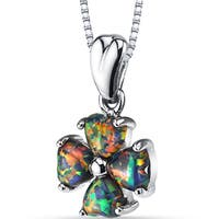 Oravo Women's Sterling Silver 1.5-carat Created Black Opal Lucky Hearts Pendant Necklace