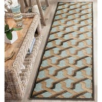 Safavieh Paradise Watercolor Vintage Soft Anthracite / Aqua Viscose Runner Rug - 2'2 x 8'