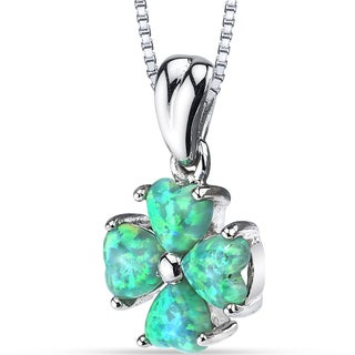 Oravo Green Opal Sterling Silver Lucky Hearts Pendant Necklace