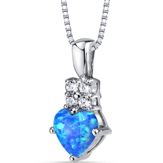 Oravo Sterling Silver Created Blue Opal Cubic Zirconia Heartlight Pendant Necklace