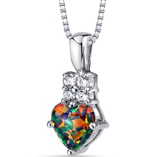 Oravo Sterling Silver 1.00ct Created Black Opal Heartlight Pendant Necklace