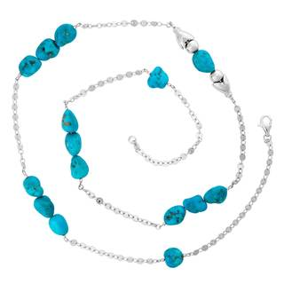 Sterling Silver Sleeping Beauty Turquoise Nugget Necklace - Blue