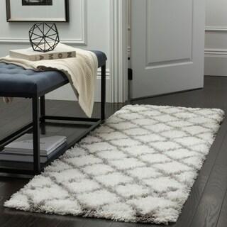 Safavieh Indie Shag Trellis Ivory / Grey Polyester Runner Rug (2' 3 x 7')
