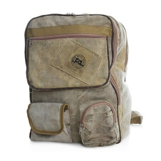 The Real Deal Brazil's Belem Tan Recyled Cotton Canvas Backpack