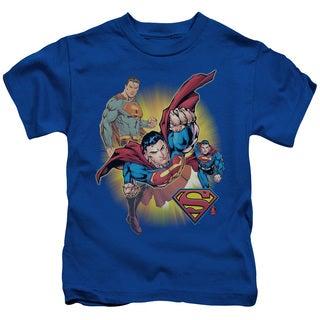 JLA/Superman Collage Short Sleeve Juvenile Graphic T-Shirt in Royal
