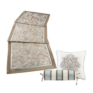 Madison Park Whitman Blue Jacquard Paisley Bedscarf Dresser Topper/ Table Runner and Decorative Pillow Set