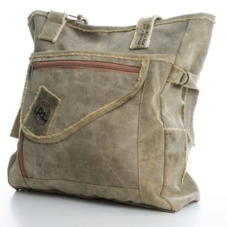 The Real Deal Brazil's Tan Recycled Cotton Canvas Olinda Tote Bag
