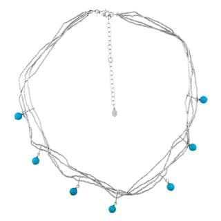 Sleeping Beauty Sterling Silver Turquoise Station Necklace
